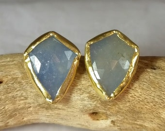Blue Sapphire and  gold Stud earrings, 22 kt solid recycled gold studs,  sapphire, silver  and  gold  earrings