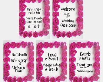 Bundle - Instant Download Pink Rose Wedding Signs