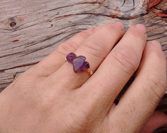 Amethyst Crystal ring- made to order. Stackable ring, midi ring, dainty amethyst ring, simple rings, February birthstone, birthstone ring