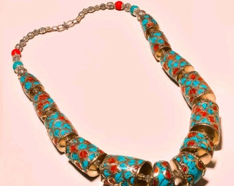 Turquoise Coral Necklace Chunky Statement Jewelry