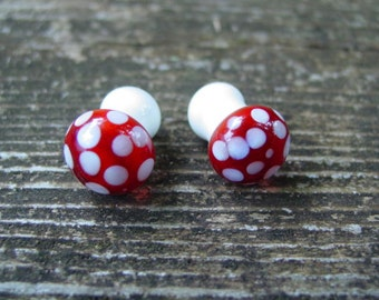 Amanita Buds Double Flare 0g gauged ear plugs earrings for stretched piercings Made to Order