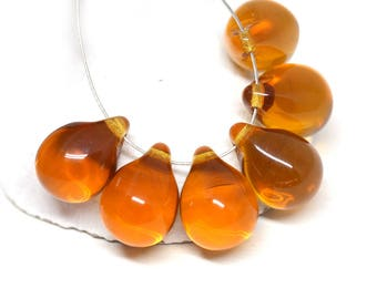 10x14mm Light Brown Topaz czech glass Teardrop beads, large Briolettes, topaz drop beads - 6Pc - 2746