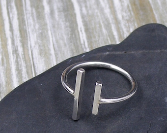 Silver Bar Ring, Double Open Bars Ring