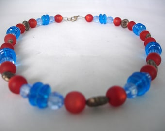 Brass, Crimson Red and Blue Necklace - Round, Disc Beads- Brass Flower Spacers - Fashion Jewelry - Glass - Acrylic Beads - Summer Necklace