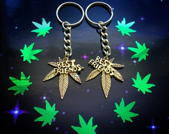 Best Friends Cannabis Pot Leaf keychains, SET of TWO, Weed, Best Buds