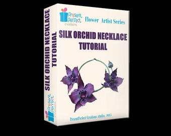 Fabric orchid tutorial, silk orchid tutorial, orchid template, silk flower necklace tutorial, handmade orchid, millinery flower tutorial