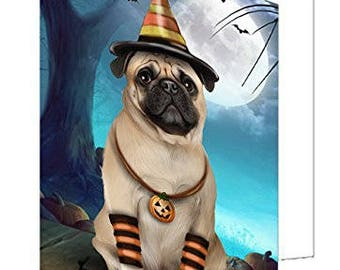 Happy Halloween Trick or Treat Pug Dog Candy Corn Set of 10 Greeting Cards