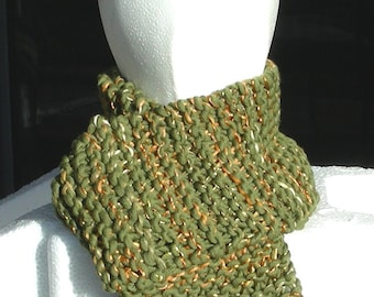 Scarf hand knit long olive green gold merino luxury