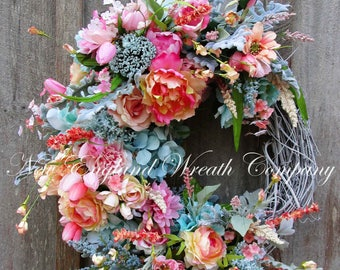 Spring Wreath, Easter Wreath, Spring Floral Wreath, Elegant Spring Wreath, XL Designer Floral Wreath, Country French Wreath, Cottage Wreath