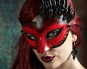 Mardi Gras, Masquerade Ball, Festival Wear, Red Mask, LARP
