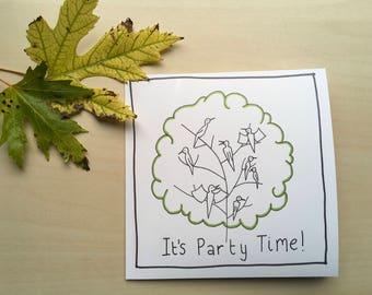 It's Party Time Illustrated Greetings Card