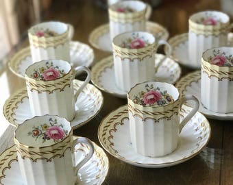 Tea Set 8 Royal Worcester Demitasse Cups Saucers  Kempsey Pattern With Ribbed Body Hand Painted Florals Yellow Border Expresso Cups