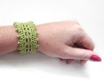 Lime Lace Cuff Bracelet - Spring Green Egyptian Cotton - Fashion Bright Holiday Hippie Boho Modern Crochet