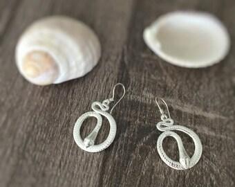 Snake Jewelry, Snake Earrings,  Snake Flute, Circle Earrings, Drop Earrings, Silver Dangle Earrings, Silver Earrings, Silver Jewelry