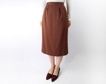 VINTAGE Skirt Pencil Skirt 1980s Brick Red Small