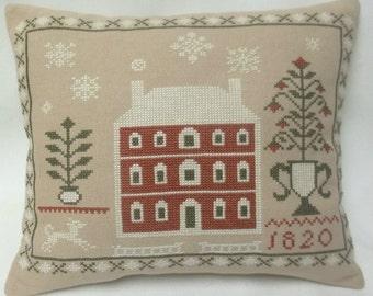 Primitive House Sampler Cross Stitch Winter Mini Pillow