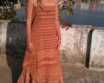 Khadi Dress, Stripeless Dress, handwoven Cotton, printed dress, tribal Dress, Hippie Dress, Festival Dress, Summer Dress, Indian Dress