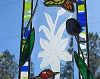 Beveled glass suncatcher with flowers #005 robin with butterfly and iris