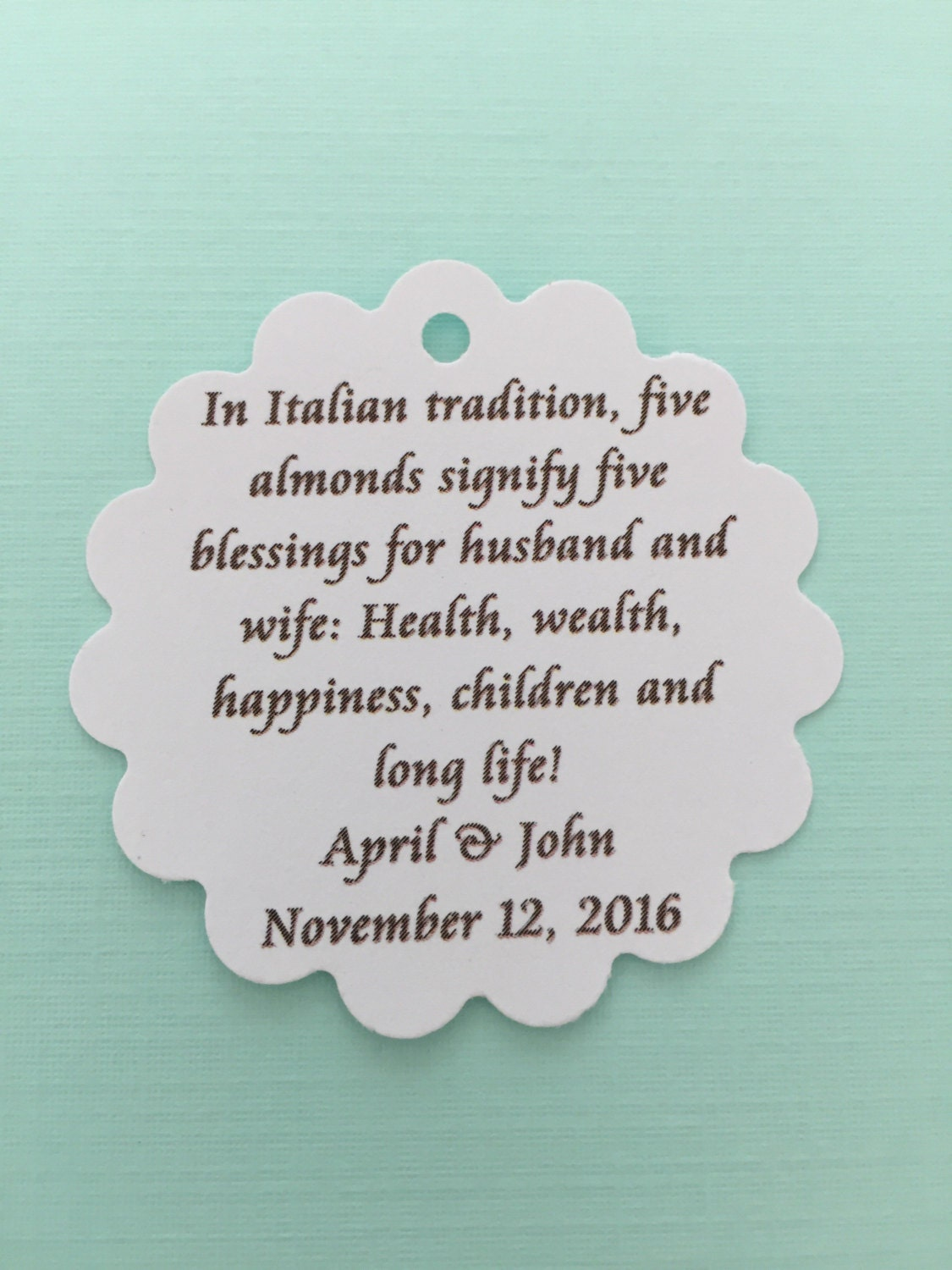 60 tags- italian Jordan almond poem tag for wedding favors from ...