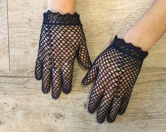 Blue lace vintage gloves