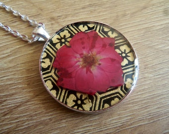 Rose Necklace, Real Rose Necklace, English Rose Necklace, Tudor Rose Necklace, Japanese Washi Paper Necklace, Resin Jewellery