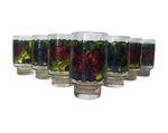 Retro Stained Glass Design Fruit Tumblers - Set of 7