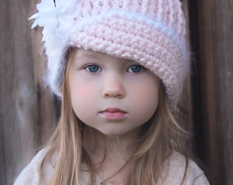 Crochet Hat Pattern: 'Vintage Twist', Fabric Flower, Winter Fashion, Baby to Women,