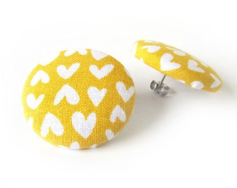 Big mustard yellow stud earrings - large fabric button earrings - hearts statement earrings - bright funky studs - birthday gift for her
