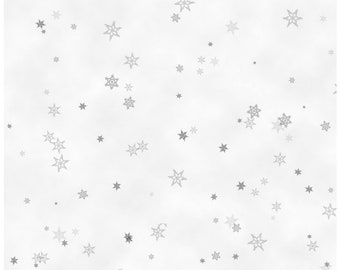 Holiday Wishes Grey Tiny Snowflakes Christmas Fabric by Jan Shade Beach New 2018 Christmas Sold By the Half Yard in One Continuous Cut