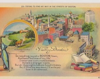 Vintage Linen Postcard, Visiting Boston, Streets of Boston, Vintage Postcard, Souvenir, Ephemera, Unused