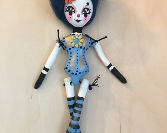 "9"" paper clay doll ornament circus girl"