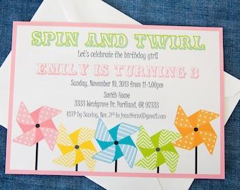 Pinwheel Printable Invitation