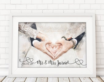 "Personalised ""Newlyweds"" Fine Art Mounted Print"