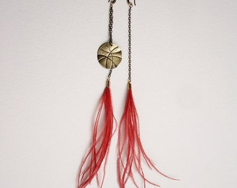 mismatched earrings, Feather earrings, Tribal earrings, Hippie earrings, Feather jewelry, Boho earrings, Asymmetric African earrings