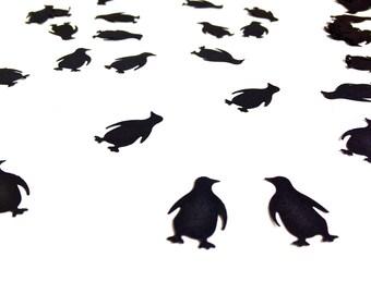 100 Black Penguin Confetti - Paper Punch - Embellishment - Decoration