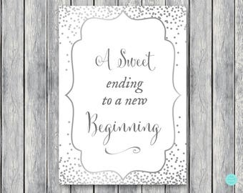 A Sweet Ending To A New Beginning Chalkboard Printable 8x10