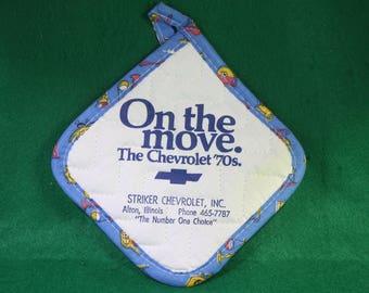 Vintage 70's Chevrolet Dealer promotional Advertising Oven Mitt. Alton , Illinois