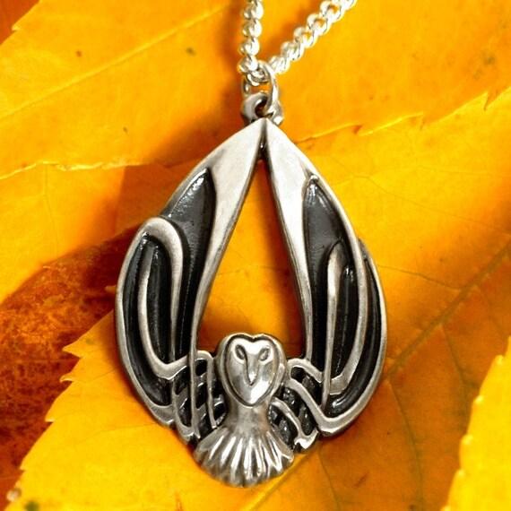 Silver Owl Necklace, Celtic Owl Pendant, Sterling Owl Jewelry, Celtic Owl, Barn Owl Wings, Harry Potter Owl, Art Nouveau Owl, Owl Lover Gift