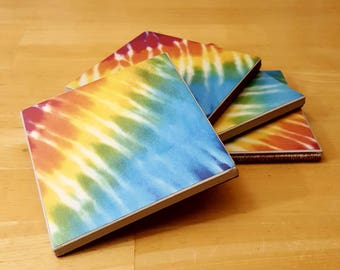 Coasters, Tye Dye Decor, Coaster Set, Tile Coasters, Housewarming Gift, Home Decor, Gift Idea, Ceramic Tile Coasters, Birthday Gift