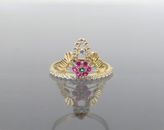 Vintage 18K Solid Yellow Gold Ruby, Emerald & White Topaz Crown Ring Size 5.75