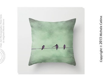 Three Birds on Wire Pillow Cover Whispering Bird Silhouette Pillow Cover Blue Green Sky Clouds Bird on Wire Throw Pillow Cover
