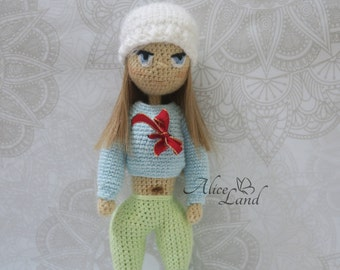 Crochet doll, Amigurumi doll, Art doll, handmade doll, girls toy, fitnes doll, sport doll