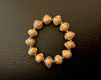 Orange and Silver Stretch Bracelet of Kashmiri Beads