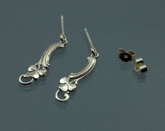 Vintage look drop or dangle earrings in solid 925 sterling silver