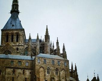 Fine Art photography, Mont St Michel, France, monestary, village, castle, vintage 8x12, 8x10