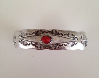 Sterling silver and coral cuff