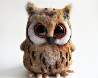 Needle felted Horned owl