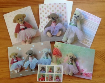 Greeting cards - pack of 5 - miniature ballerina teddy bears