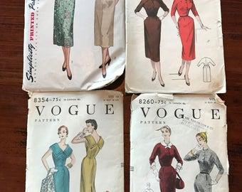 Vintage One Piece Dress Patterns - Set of 4