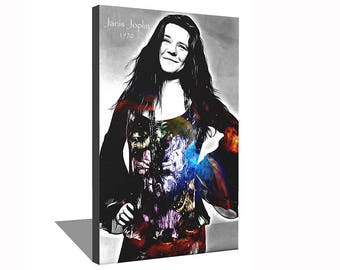 Janis Joplin 1970 100% Cotton Canvas Print Using UV Archival Inks Stretched & Mounted